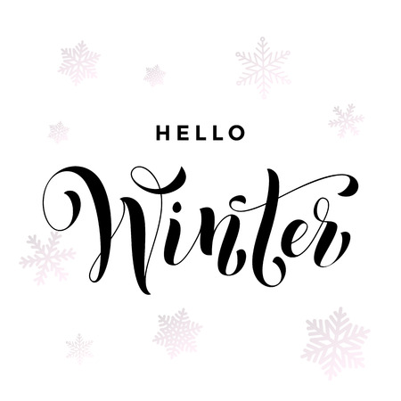 balck: Hello Winter text calligraphy lettering. Hand drawn font for Christmas or New Year holidays greeting card, placard or poster design element