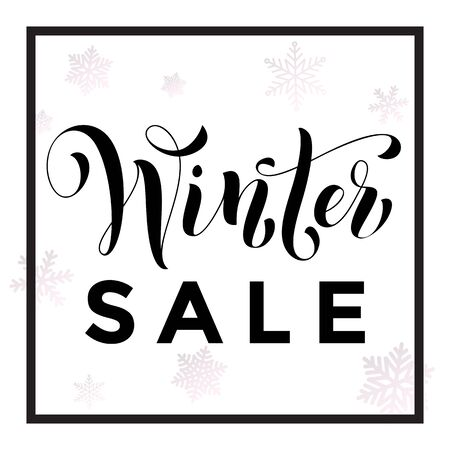 balck: Winter Sale text calligraphy with balck frame for Christmas or New Year holidays discount pormotion sale shopping