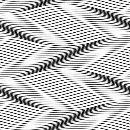 波のシームレスなパターン。波状の表面の背景。滑らかな 3 D 波行溝効果の錯覚。繊維や包装紙、iterior デザインのベクトル グルーヴィーな背景  イラスト・ベクター素材