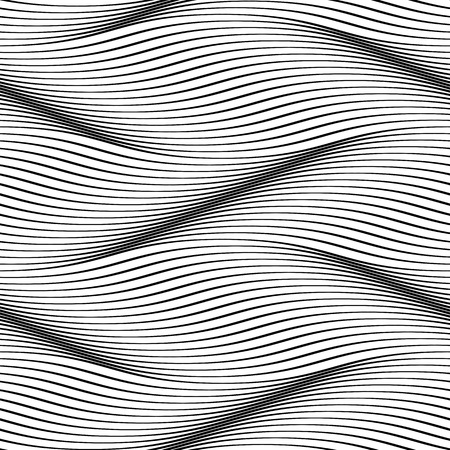 Waves seamless pattern. Wavy surface background. Optical illusion of smooth 3D wave lines groove effect. Vector groovy backdrop for textile or wrapping paper, iterior design