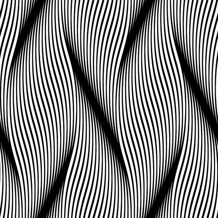 interweave: Seamless wavy background texture. Interior wall or wallpaper decoration. 3D waves or zig zag seamless pattern. Vector white background of abstract waves and ripples