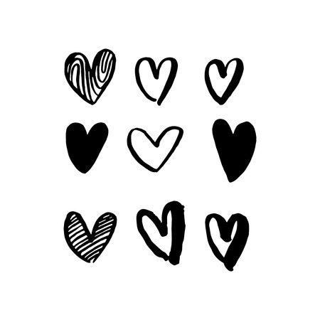 art pen: Hearts hand drawn vector art for Valentine day. Vector isolated heart love sketch icons pattern. Marker or felt-tip pen drawing. Romantic symbols set. Greeting card design element