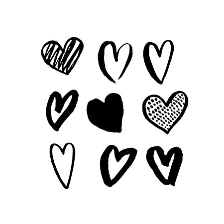 Vector heart icons hand drawn art design for Saint Valentine day. Isolated hearts set pattern. Love sketch symbols. Greeting card design element. Marker or felt-tip pen drawing Illustration