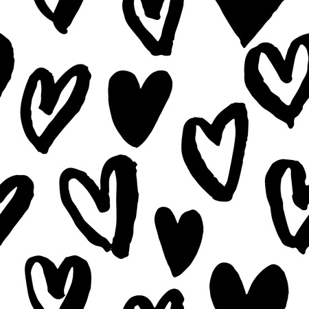 art pen: Pattern of hearts vector sketch for Valentine day design. Seamless heart art background hand drawn by marker or felt-tip pen drawing. Romantic symbols for love greeting valentines elements