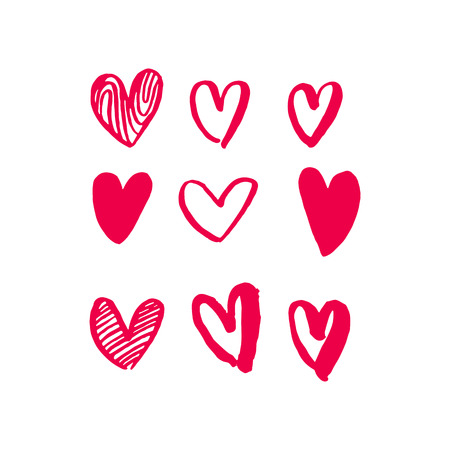 art pen: Valentine Day hearts pattern. Vector isolated heart valentines art for 14 February love celebration. Marker or felt-tip pen sketch drawing. Romantic red pink symbols set. Greeting card design element Illustration