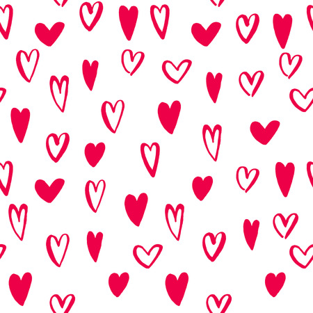 art pen: Hearts seamless pattern for Valentine Day greeting card design. Hand drawn vector art. Vector isolated heart love sketch icons by marker or felt-tip pen drawing. Romantic valentines cards symbols set Illustration