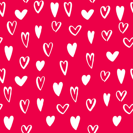 Vector heart seamless pattern. St Valentine red pink background of hearts hand drawn art icons. Design for Valentines day greeting love card. Vector sketch of marker felt-tip pen drawing Illustration