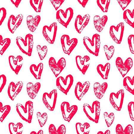 san: Valentine Day hearts pattern. Background of hand drawn heart icons. Seamless pink valentines for 14 February love celebration. Marker or felt-tip pen sketch drawing. Greeting card design element Illustration