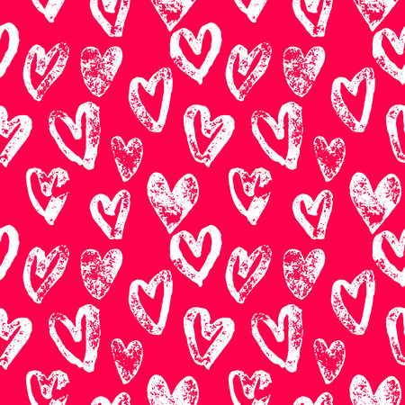 Pink hearts pattern background Valentine Day design for greeting card. Hand drawn sketch heart art of marker or felt-tip pen drawing for valentines heart cards