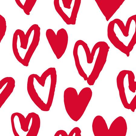 Valentinstag Herzen Muster. Hintergrund der Hand gezeichnet Herzen Symbole. Nahtlose rosa Valentines für 14 Liebe Feier Februar. Marker oder Filzstift Skizze zeichnen. Grußkarte Design-Element