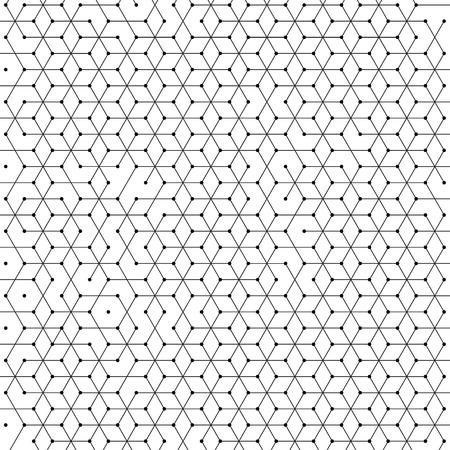 células hexagonales fondo del patrón de malla geométrica del hexágono abstracta. estructura de red poligonal de conexión de líneas con puntos Ilustración de vector