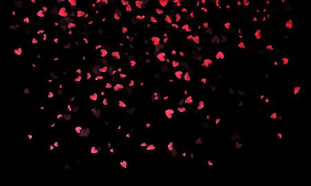 corazones de color rosa pétalos que caen en el fondo negro de diseño de tarjetas de felicitación Día de San Valentín. pétalo de una flor en forma de corazón confeti
