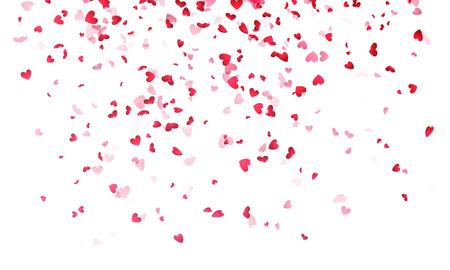 心の背景、白背景にピンクのハート型 ☆ 紙ふぶきを落下のバレンタインデー。聖バレンタイン グリーティング カード デザイン。ハートの形の花弁