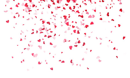 Hearts background, Valentine Day falling heart pink confetti on white backdrop. Saint Valentines greeting card design. Flower petal in shape of heart