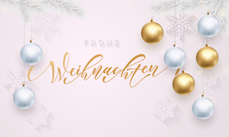 frohe: Christmas in Germany Frohe Weihnachten decorative vector greeting. German Christmas snow ball and snowflake golden decoration on luxury white background. Premium calligraphy lettering
