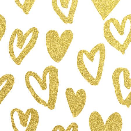 glitter hearts: Valentine Day golden glitter hearts pattern. White background gold glittering foil heart icons. Seamless design 14 February love celebration. Golden marker felt-tip sketch drawing greeting card