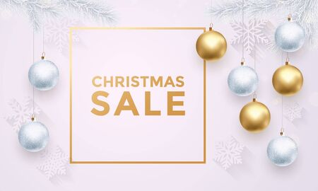 gold christmas decorations: Christmas Sale gold text poster with ball ornament decorations and Xmas premium luxury white background with snowflakes pattern, gold glitter. Winter retail offer banner, poster with frame