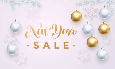 gold christmas decorations: New Year Sale poster or promo gift card with gold text, ball ornament decorations, Christmas ball ornaments, gold glitter snowflakes pattern. Premium luxury background with. Xmas retail offer banner