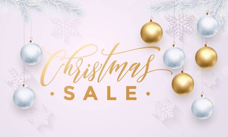 Banner Christmas Sale text white background with golden glitter balls ornaments design. Text with golden glitter snowflakes pattern, balls ornaments. Banner or poster for promo shopping store Illustration