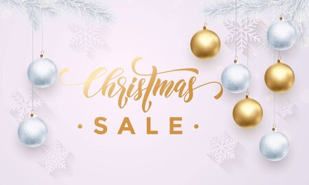 discount store: Poster for Christmas Sale background flat design. Text with golden glitter balls, text calligraphy and snowflakes pattern. White winter banner or poster for shopping store discount