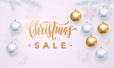 discount store: Banner Christmas Sale white background flat design. Gold glitter Text with golden glitter snowflakes pattern, balls ornaments decoration. Winter banner or poster for discount shopping store
