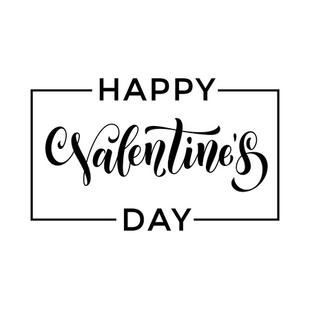 Saint Valentine vector calligraphy text for greeting card with black frame on white background. Valentines day 14 February love congratulation design