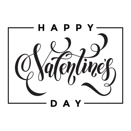 day saint valentin: Saint Valentine vector calligraphy text for greeting card with black frame on white background. Valentines day 14 February love congratulation design
