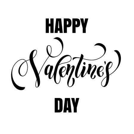San Valentín del vector del texto de la caligrafía de la tarjeta de felicitación con marco negro sobre fondo blanco. Día de San Valentín de diseño enhorabuena 14 de FEBRERO Amor