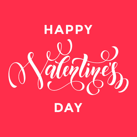 san: Valentines Day vector calligraphy text for greeting card with white frame on red background. Valentines day 14 February love congratulation design