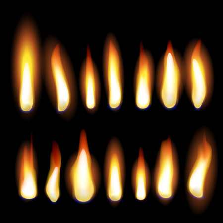 Fire flames and fire burn. Vector set of flaming light effect. Burning candle glow or firecamp flame or candlelight or fireplace on black background
