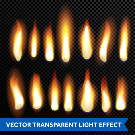 flame burn: Flames and fire burn vector set of flaming light effect. Burning candle glow or firecamp flame or candlelight or fireplace on transparent background