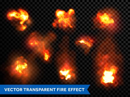 Fire bursts and explosion set. Vector flaming and burning flames and outbursts. Fiery light flare burst ignition effect. Wildfire or firecamp flame, candlelight or fireplace on transparent background Illustration