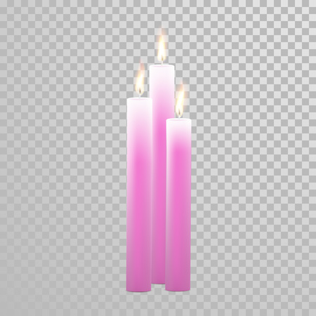 wax glossy: Romantic pink red candle flame burning. Aromatic candles vector decorative set. Vector 3D realistic isolated round cylindrical candle sticks glowing flames on transparent background. Decoration design Illustration