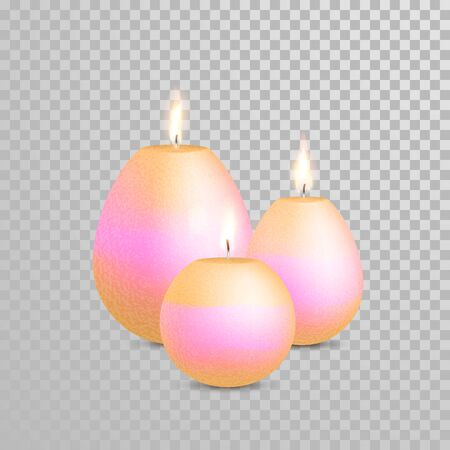 Decoration round candle of white golden pearl color. Vector 3D realistic isolated candles set with burning flames on transparent background. Wedding decoration white or beige element design Illustration