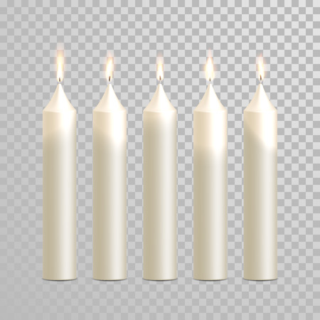 white candle: Decorative white candles set. Vector 3D realistic isolated round cylindrical candle sticks with burning flames on transparent background. Wedding decoration white or beige element design