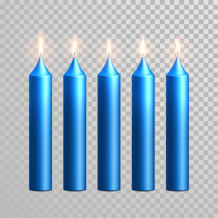 paraffin: Aromatic blue glossy candles set. Vector 3D realistic isolated decorative candle sticks with burning flames on transparent background. Decoration round cylindrical element design