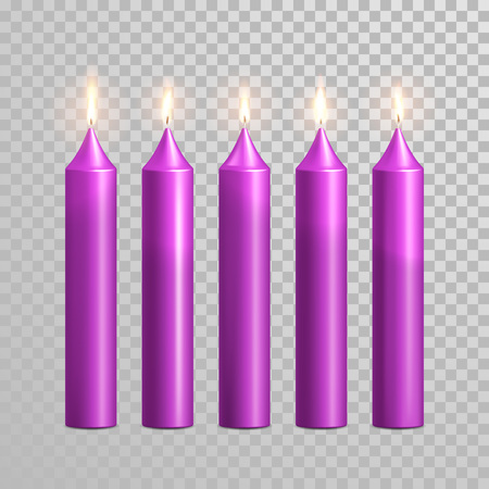 paraffin: Romantic purple violet candle flame burning. Aromatic candles vector decorative set. Vector 3D realistic isolated round candle sticks glowing flames on transparent background. Decoration design