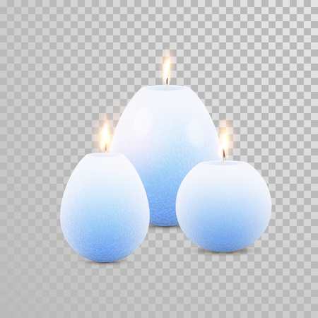 paraffin: Aromatic blue glossy candles set. Vector 3D realistic isolated decorative candle sticks with burning flames on transparent background. Aromatherapy element design Illustration