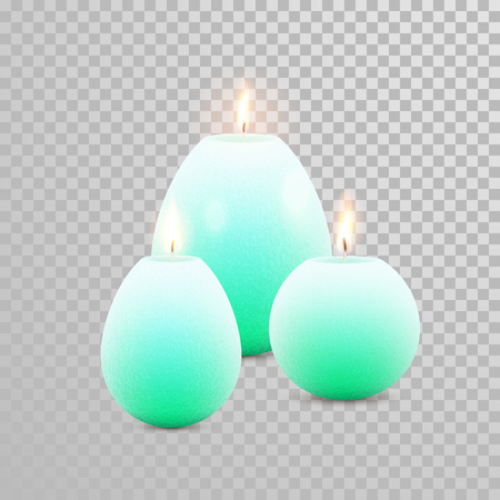 Aromatic green candles. Vector 3D realistic burning blue candle set with flames. Isolated round cylindrical shape candle on transparent background. Wedding, birthday decoration element design Illustration