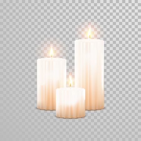 white candle: Decorative white pearl color candles set. Vector 3D realistic isolated round candle sticks with burning flames on transparent background. Wedding decoration white or beige element design