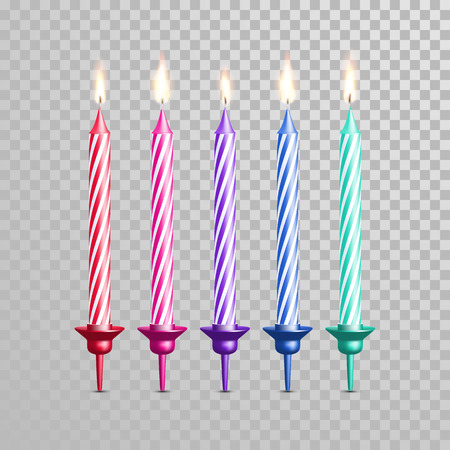 cake background: Decorative candles for birthday cake with stripes. Vector 3D realistic isolated candle with candlestick and burning flames on transparent background. Wedding tart cake decoration element