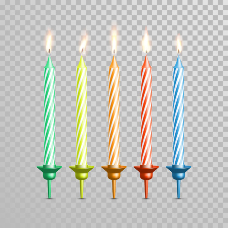 Birthday candles or wedding candlesticks. Decorative vector 3D realistic isolated candle with candlestick and burning flames on transparent background. Cake and cupcake decoration element
