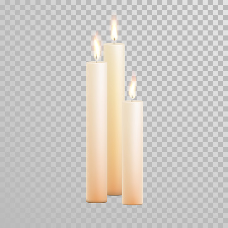 paraffin: Decorative white pearl color candles set. Vector 3D realistic isolated round candle sticks with burning flames on transparent background. Wedding decoration white or beige element design