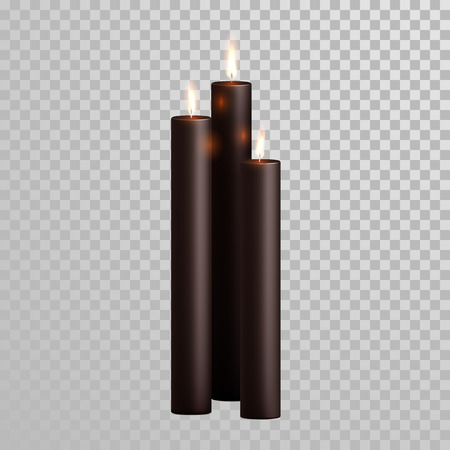 wax glossy: Decorative spa black or brown aroma candles set. Vector 3D realistic isolated candle sticks with burning flames on transparent background. Wedding, birthday holiday decoration element design Illustration