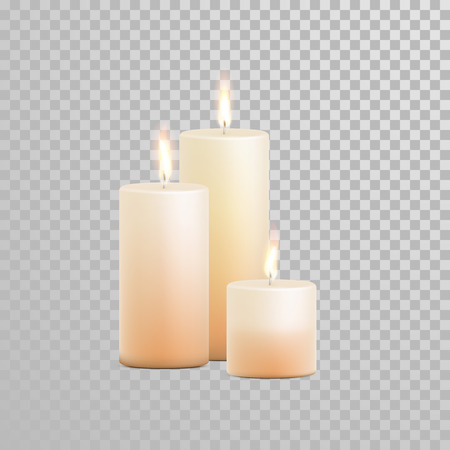 Decorative candles set. Vector 3D realistic isolated round cylindrical candle sticks with burning flames on transparent background. Wedding decoration white or beige element design