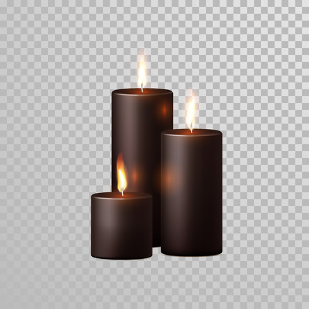 flames background: Aromatic coffee brown or black candles set. Vector 3D realistic isolated decorative candle sticks with burning flames on transparent background. Decoration round cylindrical element design Illustration