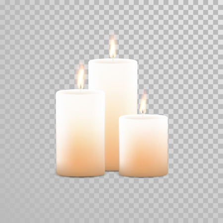 paraffin: Burning candles set. Aromatic decorative round cylindrical candle sticks with burning flames on transparent background. Vector 3D realistic isolated decoration white or beige element design Illustration