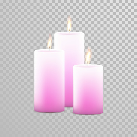 paraffin: Romantic pink candle flame burning. Aromatic candles vector decorative set. Vector 3D realistic isolated round cylindrical candle sticks glowing flames on transparent background. Decoration design
