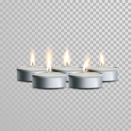 white candle: Tealight decorative candles set. Vector 3D realistic isolated tea candle sticks with burning flames on transparent background. Decoration white or beige element design Illustration