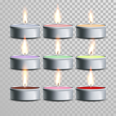 tea candle: Decorative aromatic tealight candles vector set. Vector 3D realistic isolated tea candle sticks with burning flames on transparent background. Holiday decoration color element design Illustration